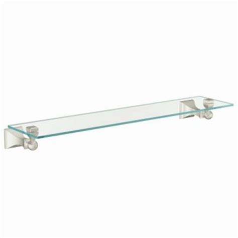 brushed nickel glass bathroom shelf moen retreat 22 in w glass bath shelf in spot resist