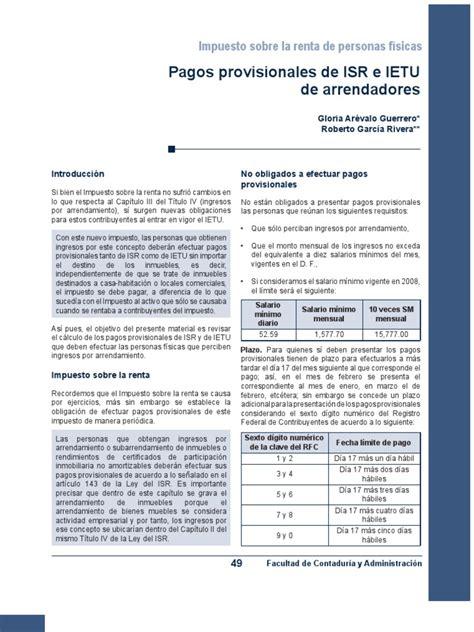 pagos provisionales mensuales de isr arrendadores de inmuebles 2016 449 pagos provision ales de isr e ietu