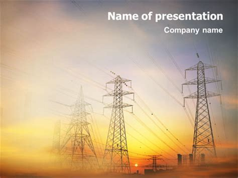 ppt templates free download electrical power line powerpoint template backgrounds 01638