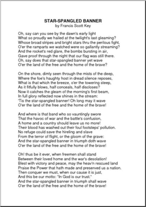 printable lyrics to the national anthem usa star spangled banner lyrics new calendar template site