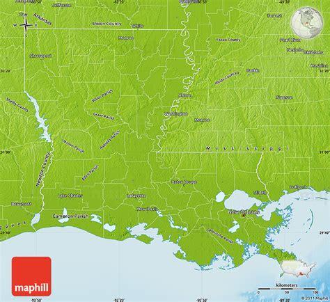 physical map of louisiana physical map of louisiana