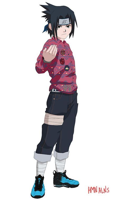 sasuke nike air foamposite max naruto personnages