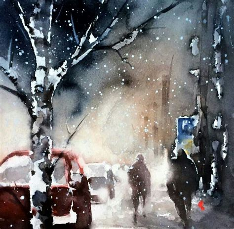Z Painting Helena Mt by Watercolor Landscape City Building Snow Winter By Helena