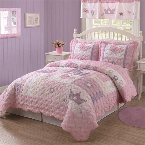 toddler bed quilt kids girls butterfly princess purple amp pink twin bedding quilt amp sham set new ebay