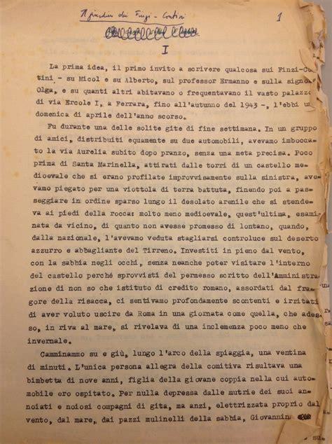 il giardino dei finzi contini pagine giorgio bassani torna alla luce il manoscritto