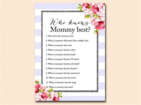 Free Printable Baby Shower Who Knows The Best by Purple Chic Baby Shower Magical Printable