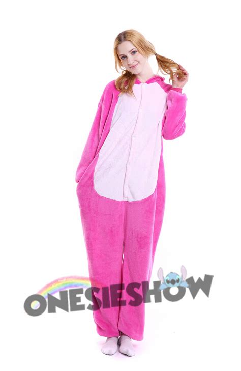 Jam Flanel Stitch Pink pink stitch kigurumi onesie pajamas soft flannel unisex animal costumes cheap price kigurumi