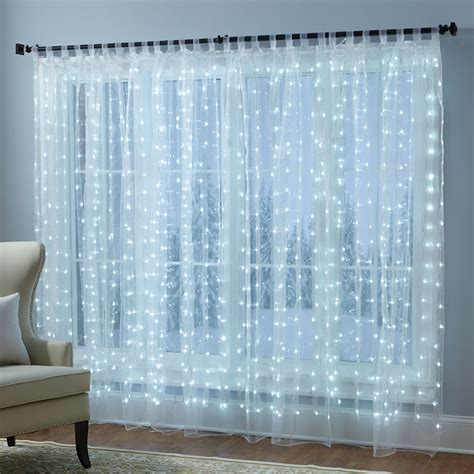 lighted christmas curtain panels festive illuminated window sheer curtains the green head