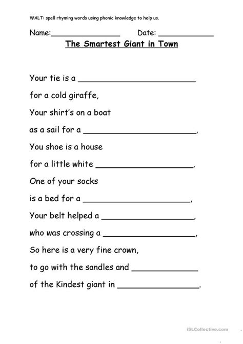 smartest giant  town worksheet  esl printable