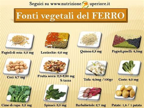 ferro alimenti vegetariani vegani come fare scorta di ferro
