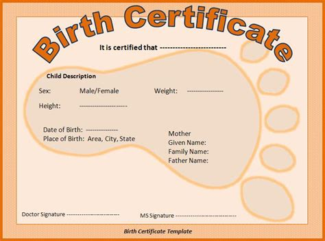 build a birth certificate template birth certificate template free formats excel word