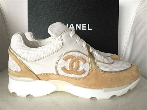 chanel mens trainer sneakers 2015 chanel cc white beige gold sneakers tennis shoes
