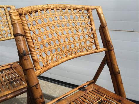 set   scorched bamboo frame folding chairs  rattan seat    stdibs