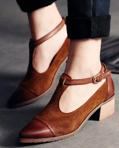 korean womens suede buckle strap pointed toe shoes