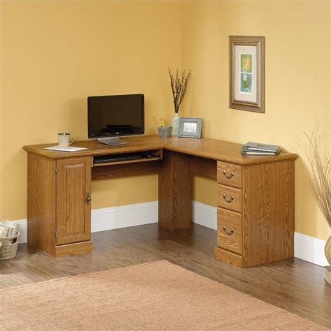 corner wood computer desk sauder orchard large corner l shape wood oak