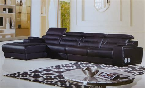 sectional warehouse 3 piece modern polaris black leather sectional set with