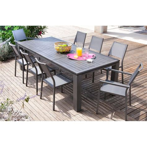 table jardin en table de jardin extensible fiero en aluminium 200 300x103x73cm proloisirs