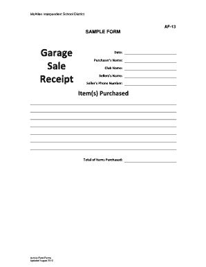 garage receipt template fillable af 13 garage sale receipt sle form