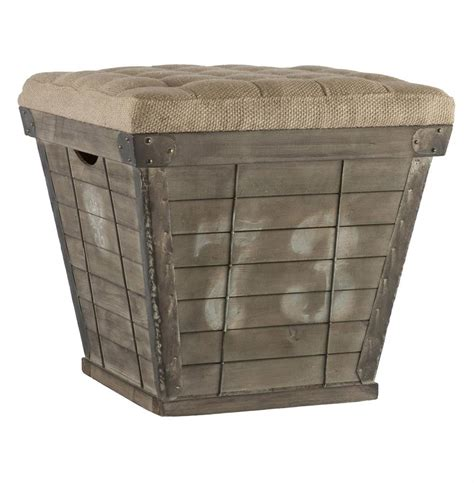 cushioned ottoman french country cube storage crate with burlap cushion