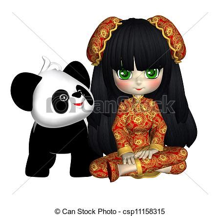 china doll drawing clipart of china doll with panda with