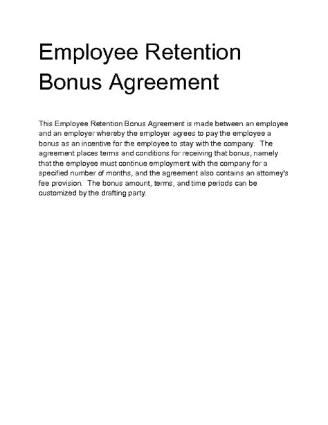 employee retention agreement template employee retention agreement template with best free