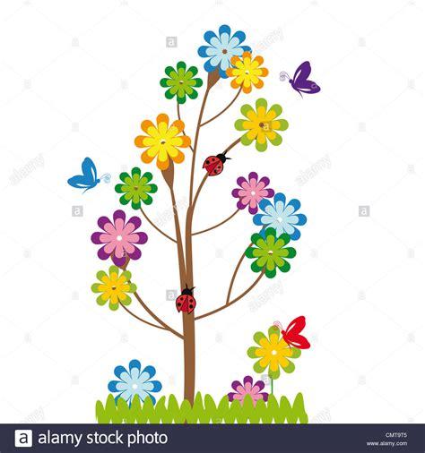 imagenes de flores y arboles cute kids cartoon with tree and flowers stock photo