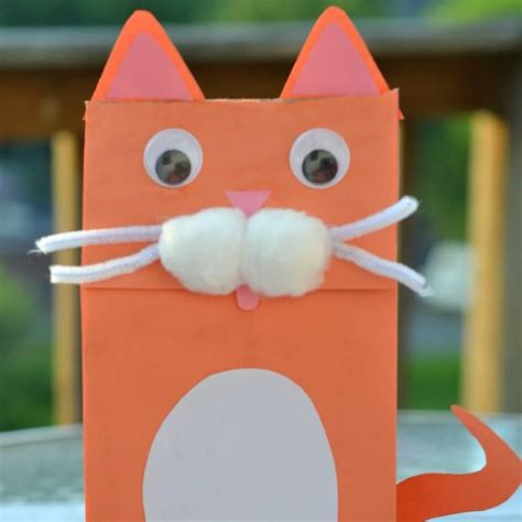 How To Make Paper Bag Puppets - cat paper bag puppet kid craft