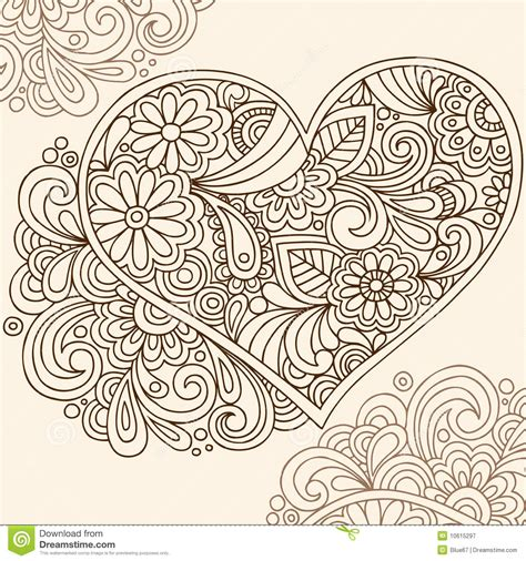 henna tattoo designs heart doodle henna vector stock vector image of intricate