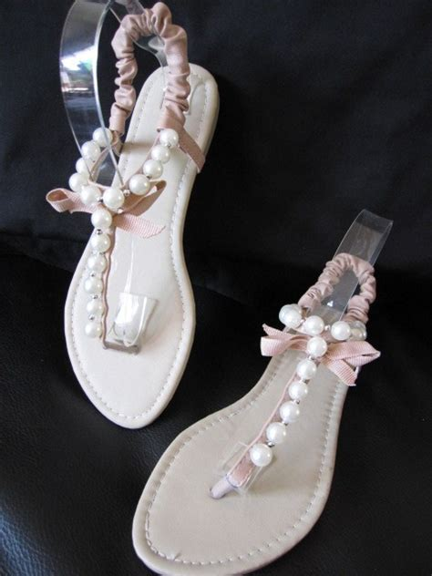 pink flat sandals wedding pink flat sandals with pearl au size 8 39 for