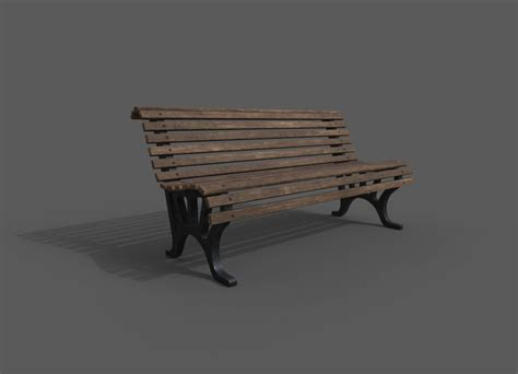 3d park bench model download max obj fbx 3ds c4d stl