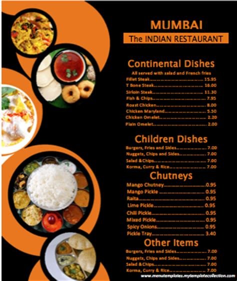 indian menu templates indian menu format template
