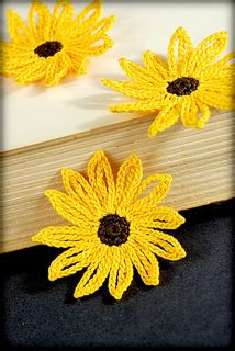 crochet pattern black eyed susan ravelry crocheted black eyed susan applique or bookmark