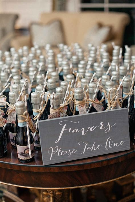 favors gifts photos miniature bottles prosecco as