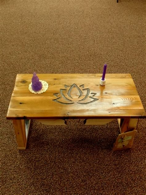 hand crafted lotus meditation altar table spirals lake
