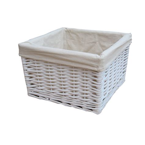 Square White Wicker Deep Storage Basket Wicker Basket Bathroom Storage