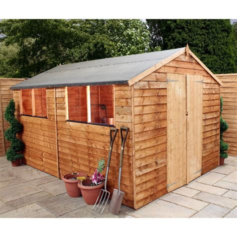 12 x 8 buckingham value wooden overlap apex wooden garden shed with 4 windows and doors