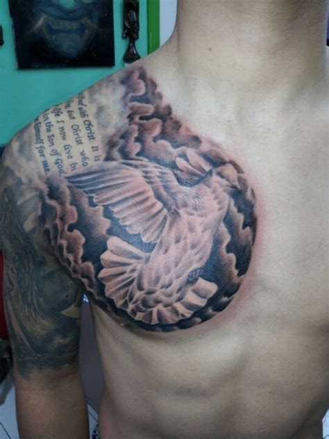christian chest tattoos dove religious tattoos by adrian flores at all