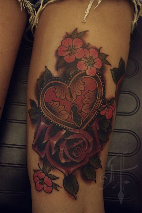 rose and locket tattoo and lock faboo