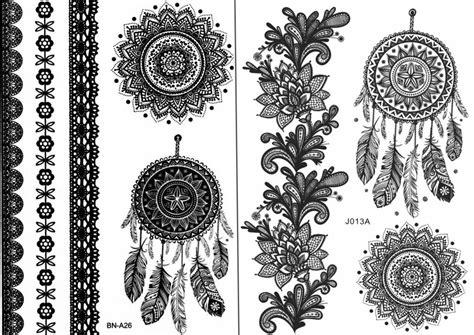 mandala temporary tattoo black henna boho dreamcatcher mandala temporary