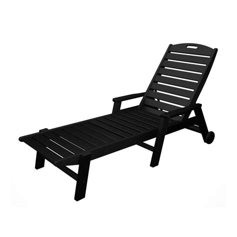 Black Resin Patio Chairs Shop Polywood Nautical Black Plastic Patio Chaise Lounge Chair At Lowes