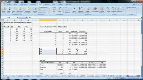 excel techniques 11 anova two factor without