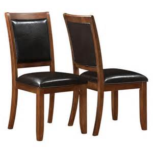 Leather Wood Dining Chairs Wood And Leather Dining Chair Walnut Set Of 2
