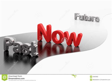 And Now A Word From by Timeline Concept 3d Word Past Now Future Stock