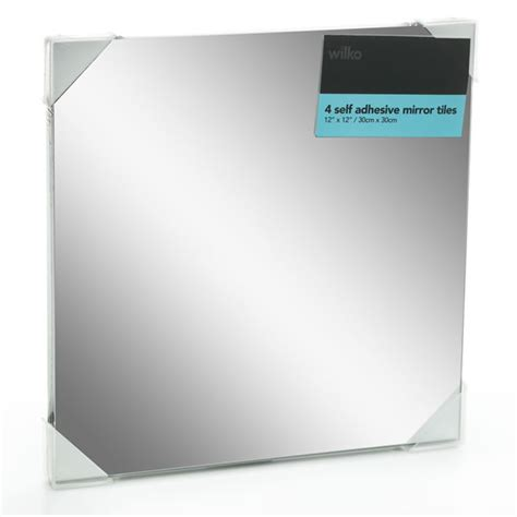 adhesive bathroom mirror wilko self adhesive mirror tiles 30 x 30cm 4pk at wilko com
