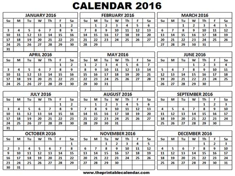 printable version of a 2016 calendar 12 month to 2016 calendar print calendar template 2016