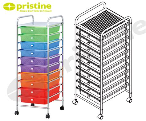 Colorful Drawers On Wheels Office Home Storage Trolley Cart Colorful 10 Tier Plastic