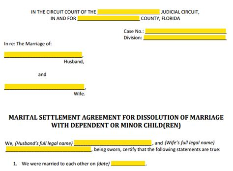 Form 12 902f1 Marital Settlement Agreement Divorce With Children Explained Florida Settlement Agreement Template