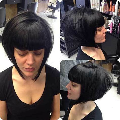 blunt cut anhled towrds face 50 trendy inverted bob haircuts