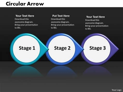powerpoint circular arrow template ppt continuous work flow chart powerpoint of 3 stages