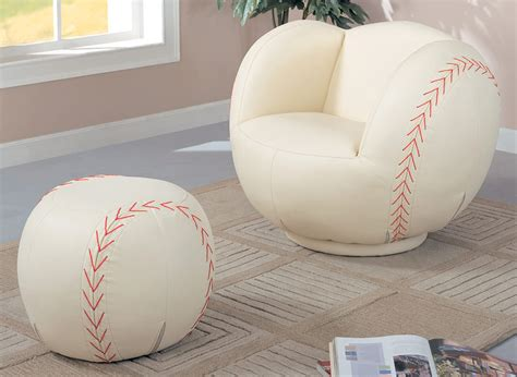baseball chair and ottoman coaster 460187 large baseball chair and ottoman set
